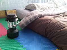 Tent Camping With Foam Floor Tiles | A Little Campy