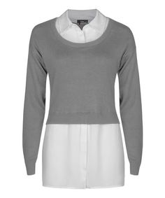 Look at this #zulilyfind! Gray & Ivory Layered Sweater by Dex #zulilyfinds