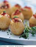 Roasted Potatoes with Chives, Bacon and Blue Cheese