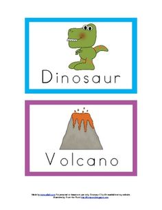 Dinosaur Word wall cards (and many other Dino themed printables)