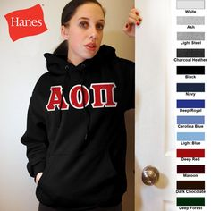 Alpha Omicron Pi Hanes 10oz. Hoody $43.95 #Greek #Sorority #Clothing #AlphaOmicronPi #AOPi #AOII pi cloth, omicron pi, alpha omicron, greek soror, soror cloth, person cloth
