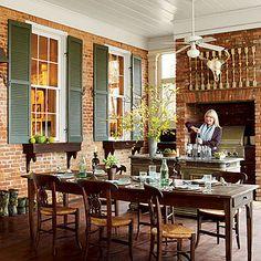 outdoor porch, farm tables, kitchen, southern farms