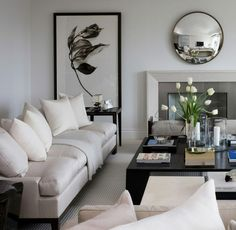 decor, mirror, interior, coffee tables, white living, fireplac, small living rooms, black white, live room