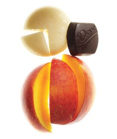 Snack idea: piece of low-fat cheese, small peach & a piece of dark chocolate, #snacks