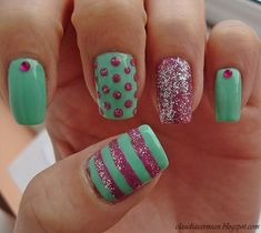 Pretty Pastels Nail nails design nails featured... i would do them with studs instead of gems but really great