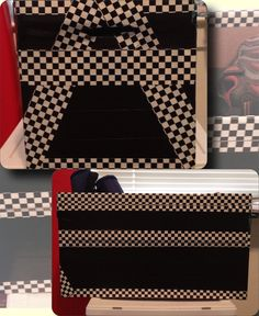 Custom shoebox for my son. Diaper box, black and patterned duck tape. So simple.