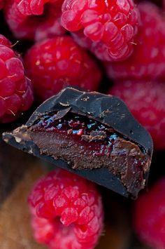 Passionfruit-coconut dark chocolates and Raspberry mocha dark chocolates