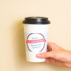 Give the gift of a warm drink or gift card to a teacher this year! Just print the sleeve, slip onto a cup and you're good to go.