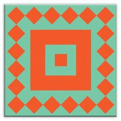Oscar & Izzy Folksy Love Decorative Tile in Checkers Red/Orange-Green