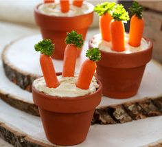 Veggie dip in flower pots.