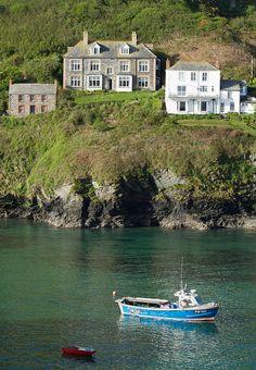 Port Isaac, Cornwall. Doc Martin ~ Portwenn. Far left, surgery.