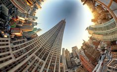 Randy Scott Slavin makes us view the world in another light. In his Alternate Perspective series he can take up to a hundred pictures of a scene to build up a 360 degree image before stitching them together to make a stereographic projection.  Picture: Randy Scott Slavin / Rex Features