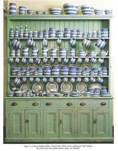 Green dresser, blue and white stoneware