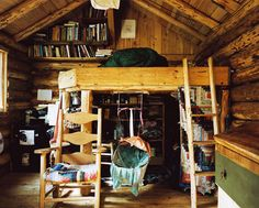 off-the-grid home living rooms, the loft, lofts, dream, bed, log cabins, hous, small space, bunk room