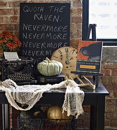 Night of Terror | Set the literary theme for the horror party by welcoming guests with a vignette that pays homage to Edgar Allen Poe. - Perfect!