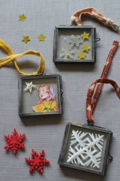 A quick and creative way to make your own personalised Christmas decorations with photos and keepsakes