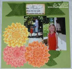 @Leadonna Quick Kimmel uses #Stampendous Cling Jumbo Dahlia here to create a dynamic scrapbook page!
