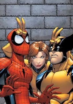 Shadowcat, Spider-Man, and Wolverine. Haha this is awesome