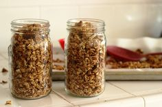 Homemade, Not Too Sweet Granola - Start the day off right with homemade granola, not too sweet, made with lots of grainy goodness. homemade granola, homemad granola, sweet granola, maple syrup