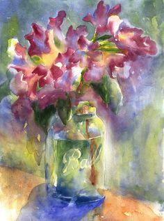 ball jar watercolor azaleas print - alisa wilcher.