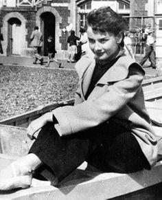 Audrey enjoying the day in London, circa 1949