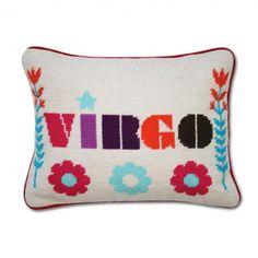 JONATHAN ADLER Virgo Zodiac Needlepoint Pillow