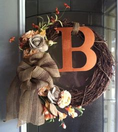 Fall Family initial wreath