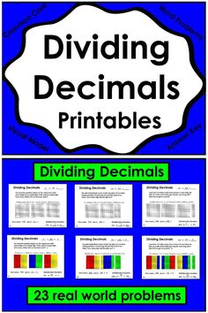 23 printable pages of real world problems involving division of decimals. Students will use a visual decimal model and equations to represent the problem.The printables are available to print in both customary and metric measurements. Each page includes an answer key and could be used as an assessment. Fifth and Sixth Grade Common Core Standards 5.NF.B.7b and 6.NS.A.1. $