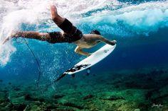 Ducking beneath the waves