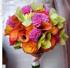 mini-calla-lilies-cymbidium-orchids-circus-roses-dahilas bridal bouquets, color combos, fall bouquets, calla lilies, wedding bouquets, dahlias, calla lillies, flower, bright colors