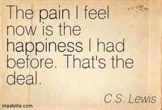 The pain I feel now is the happiness I had before. That's the deal. C.S. Lewis