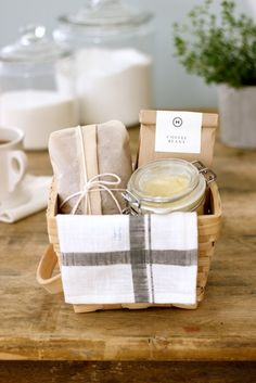 Breakfast Basket: Homemade Gifts for Mother's Day-- I go make breakfast for my mom every year this would be a cute way to present it the week before