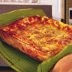 Lasagna in the microwave.  I, Julie, am actually going to try this!!