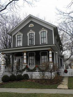 Dark Gray Victorian House
