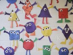 Shape Monsters. shape monster, math, preschool shape crafts, idea manual, fabric art, teach, idea kinder
