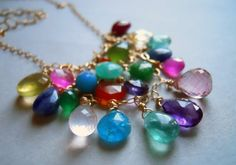 Go to Town Multi Gem Colorful Web BIB necklace by SueanneShirzay, $260.00