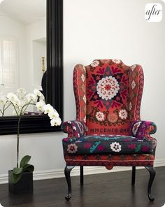 I love this bold wingback chair
