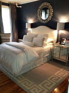 guest room, mirror, wall colors, rug, blue walls, dark walls, master bedrooms, white bedding, accent walls