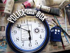 From $5 clock from Walmart to TARDIS clock - Tutorial