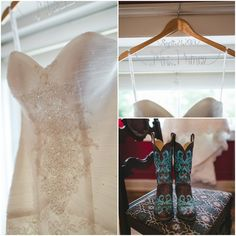 Beaded Wedding Dress and Cowboy Boots