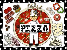Pizza Clip Art that has it all...toppings, dough, sauce, cheese, onions, olives, bacon, meat, pepperoni, green pepper, red peppers, mushrooms, tomato, and slice for building fractions!!! Charlotte's Clips huge variety of images, one low price.