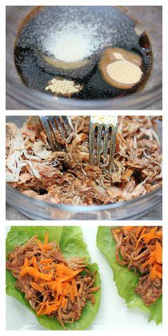 Sesame Pulled Pork Lettuce Wraps | 5DollarDinners.com