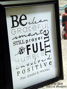 Free Printable of the 9 Be's by Gordon B. Hinckley