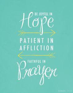 Romans 12:12 Be joyful in hope, patient in affliction, faithful in prayer. || Art Print by Zeke Tucker on Society6