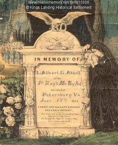 Memorial card for Lt. Albert G. Abbott of New Brunswick, who died at Petersburg, Virginia, June 18th, 1864.
