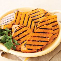 Steam and slice sweet potatoes and then give them a turn on the grill to create this deliciously unexpected side dish. #vegetables #myplate