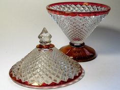 Depression Glass Covered Candy Dish Miss America by borahstyle, $25.00