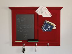 Red Wall Mail Organizer Chalkboard by SheldonWoodworks on Etsy, $165.00