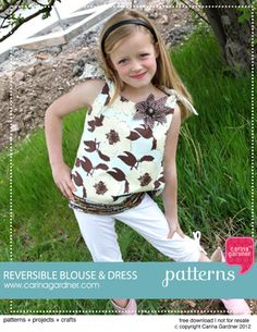 Free reversible blouse and dress pattern