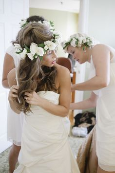 Bride and bridesmaids in floral crowns #White  #Wedding INSPIRATION  ........ #Budget #wedding #ideas #app ........ https://itunes.apple.com/us/app/the-gold-wedding-planner/id498112599?ls=1=8